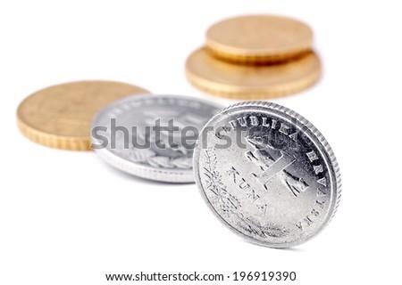 Croatian money coins. - stock photo