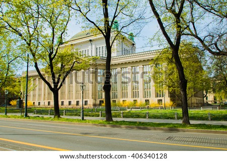 Croatian National State Archives building in Zagreb, former public University Library, built in 1912 - stock photo