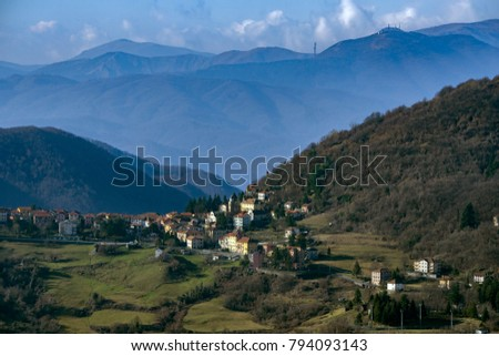 Crocefieschi village  Antola Park mountain landscape in winter panorama