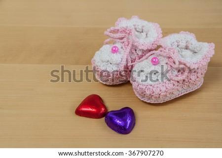 crochet baby booties  - stock photo