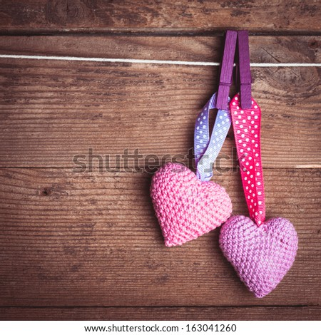 Crochet lovely hearts - stock photo