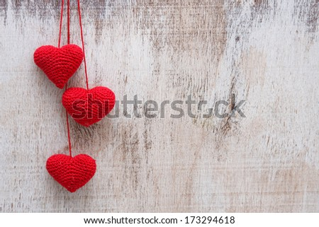 Crochet valentine hearts - stock photo