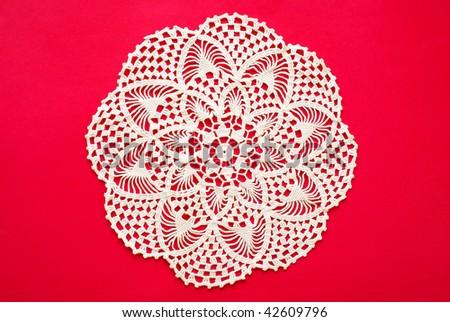 Crocheted  doily - stock photo