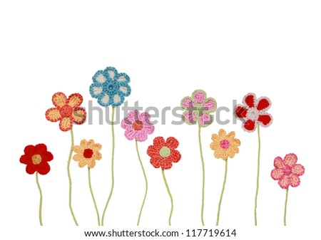 Crocheted Flower collection isolated on white background - stock photo