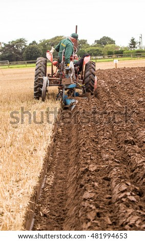 Crockey Hill, York, England 10 September 2016 Bruce Lumsden Dairy farmer Australia, in the Vintage Hydraulic Plough of the World Ploughing Contest driving an International Harvester & Ransomes TS86