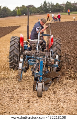 Crockey Hill, York, England 10 September 2016 John Milnes, part time farmer England, in the Vintage Trailing Plough class of the World Ploughing Contest driving a Massey Ferguson with a Ransome RSLD