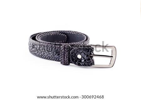 Crocodile handmade belt isolate on white background. - stock photo