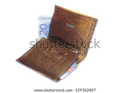 Crocodile leather purse on a white background