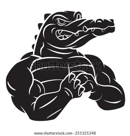 Crocodile Strong Black tattoo - stock photo
