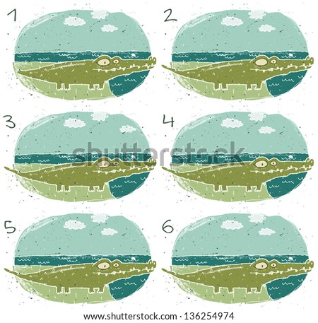 Crocodile Visual Game for children. Task: Find two identical images (match the pair)! Answer: No. 4 and 5. (for vector see image 114653224) - stock photo