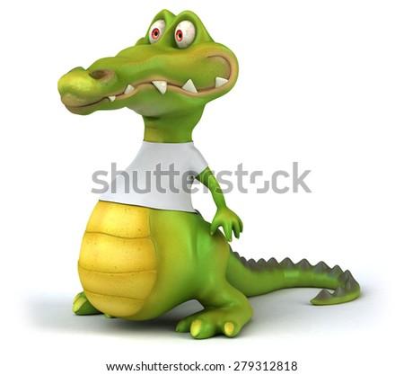 Crocodile with a white tshirt - stock photo