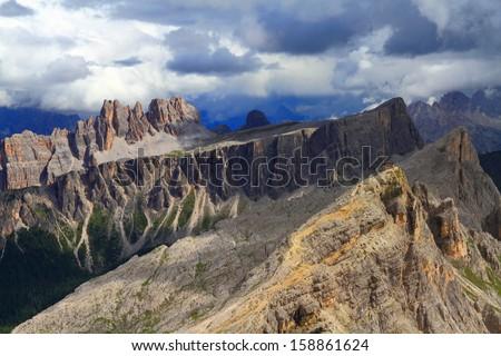 Croda di Lago massif, Dolomite Alps, Italy - stock photo