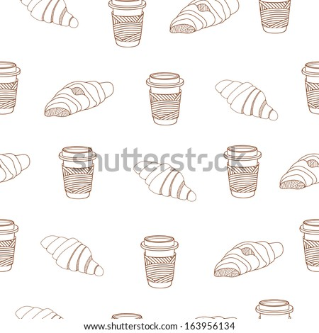 Croissant and coffee seamless background - stock photo