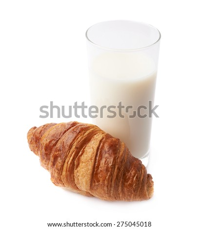 Croissant and glass of milk composition isolated over the white background - stock photo