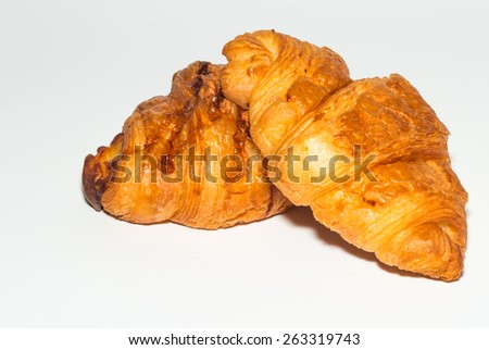 croissant bread on paper background