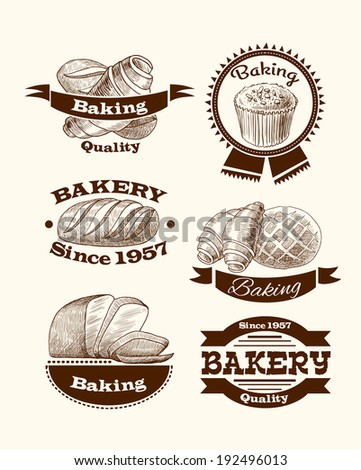 Croissant cake and traditional bread quality baking advertising food signs  illustration