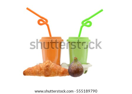 Croissant, Fig, Travel Mugs with Straws isolated on white background