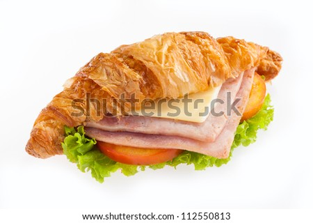 croissant ham cheese on white background