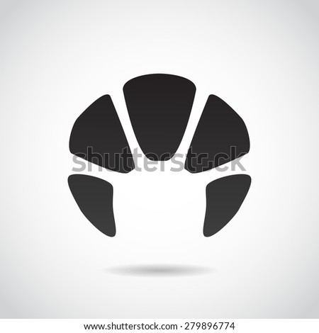 Croissant icon isolated on white background.