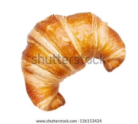 croissant isolated isolated on white - stock photo