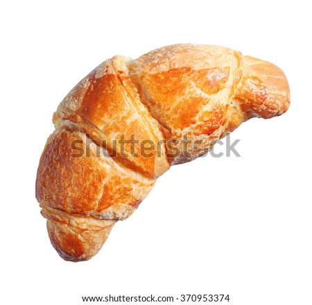 Croissant isolated on white background closeup, top view