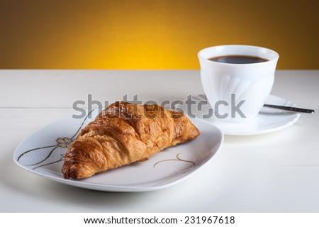croissants light and tasty breakfast - stock photo
