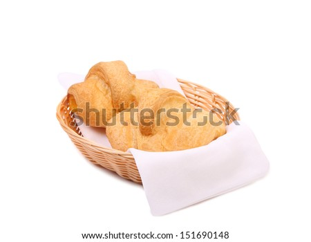 Croissants or crescent rolls in basket.