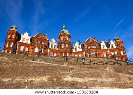 CROMER  - JULY 9: The Old house on July 9, 2010 in Cromer. The typical old house on the coast in Great Britain. - stock photo