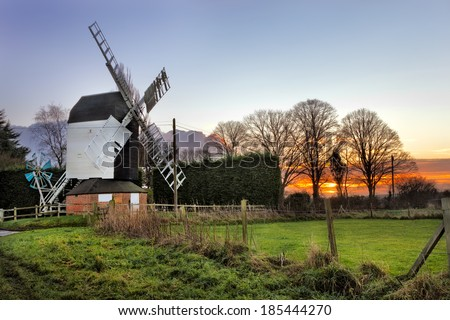 Cromer Windmill at sunset at Cromer,Hertfordshire, England. - stock photo