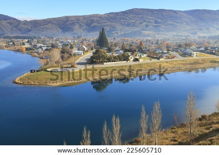 Cromwell town and Kawarau river near Lake Dunstan view from The Bruce Jackson Lookout, Central Otago region, New Zealand. - stock photo