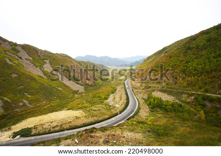 Crooked rood in mountain,beijing,China - stock photo
