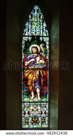 CROOM, IRELAND - CIRCA FEBRUARY 2016 - St John the Baptist or Forerunner, church stained glass window.