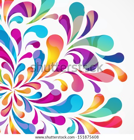 Crop circle made of colorful arc drops. Decorative background. - stock photo