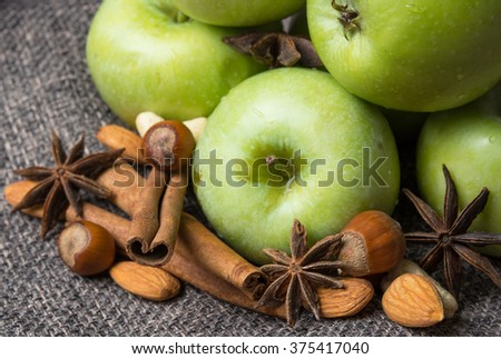 crop fresh Apple with cinnamon