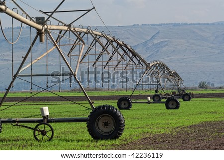 Crop irrigation system,  Golan Heights, Israel