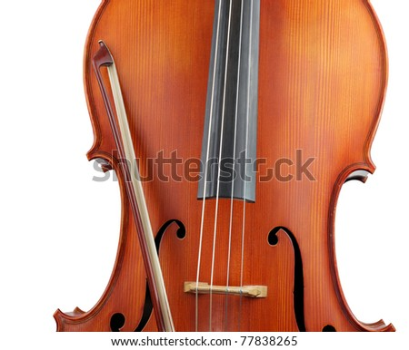 Crop of cello and bow, isolated on white