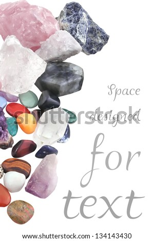 cropped composition of various crystals, different as kinds, shapes, sizes, and processes. - stock photo