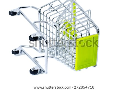 cropped fall down shopping trolley, isolated on white background - stock photo
