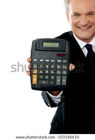 Cropped image of a businessman showing calculator to camera isolated over white