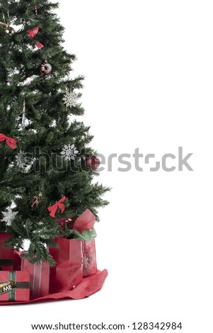 Cropped image of a Christmas tree over the white background