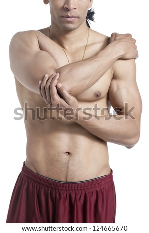 Cropped image of a masculine man with elbow pain isolated on a white surface - stock photo