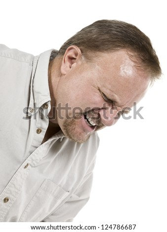 Cropped image of an old man suffering great pain isolated in a white background