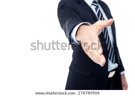 Cropped image of businessman extending hand to shake - stock photo