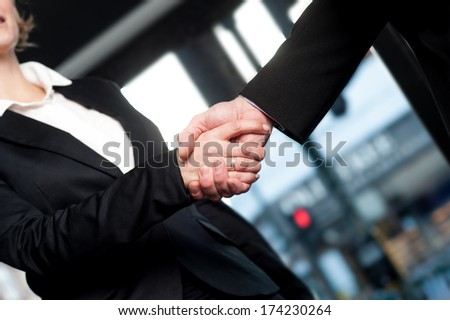 Cropped image of corporates shaking hands - stock photo