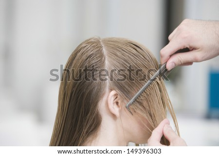 Cropped image of hairstylist's hand combing client's hair before haircut in salon