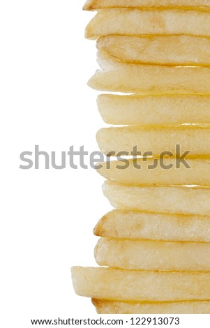 Cropped image of potato fried fries against white background