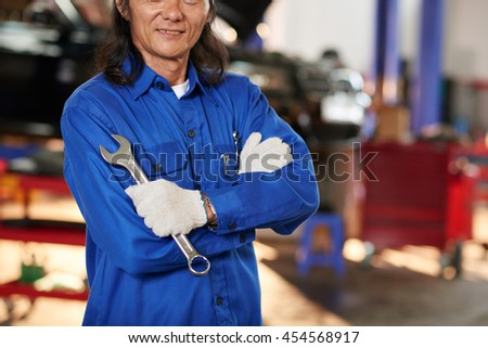 Cropped image of professional auto mechanic with spanner