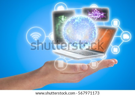 Cropped image of woman hand against blue background 3d