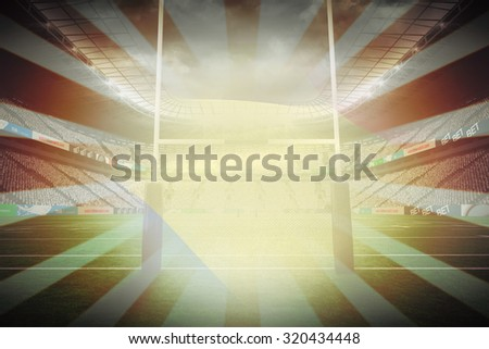 Cropped Romanian flag against linear design - stock photo