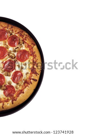 Cropped shot of a delicious pepperoni pizza isolated against white background. - stock photo
